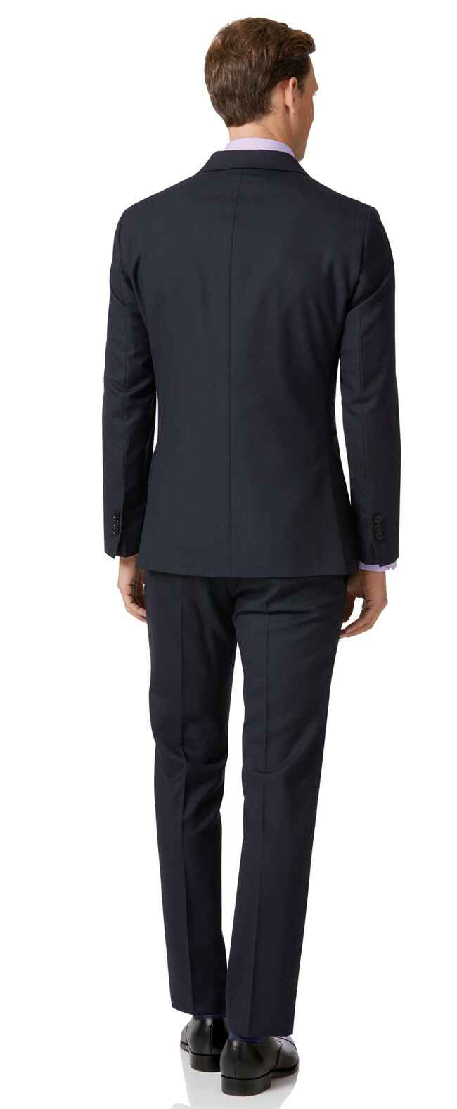 Costume business bleu nuit en laine mérinos slim fit à double boutonnage