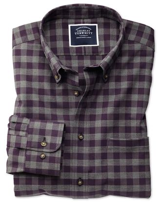 Slim fit non-iron purple gingham twill shirt
