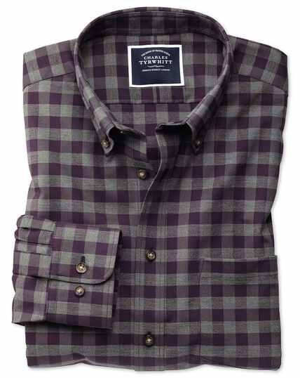 Extra slim fit non-iron purple gingham twill shirt