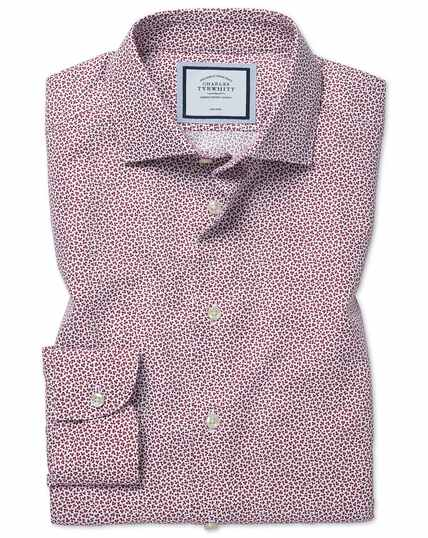 Extra slim fit non-iron leaf print berry shirt