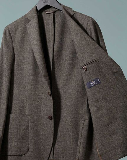 Slim fit mocha Italian wool blazer
