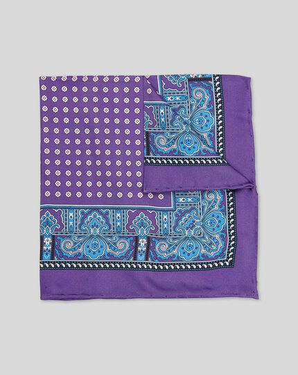 Paisley Border Print Pocket Square - Purple