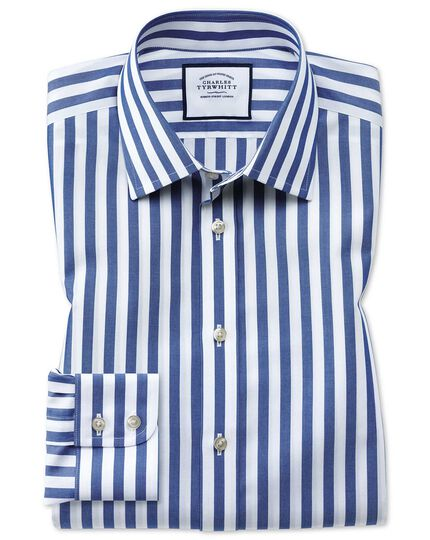 Classic fit non-iron blue wide bengal stripe shirt