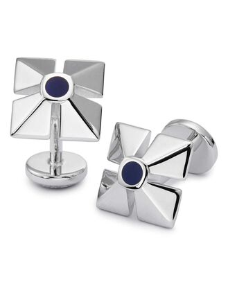 Square pyramid enamel cufflinks
