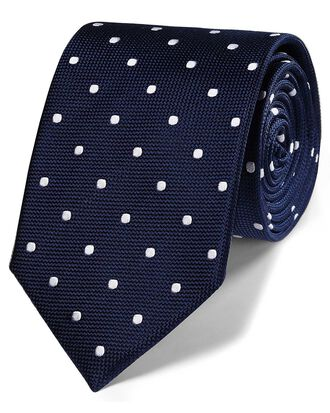 Cravate classique bleu marine à pois en soie