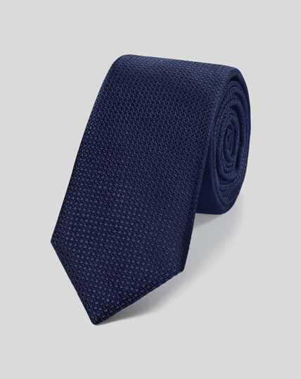 Silk Slim Textured Plain Tie - Navy