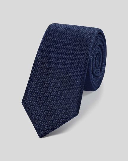 Silk Slim Textured Plain Tie - Navy