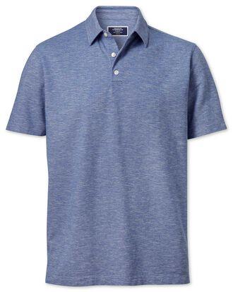Polohemd aus Baumwoll-Leinen in Mittelblau