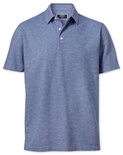 Mid blue cotton linen polo