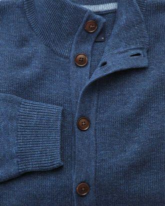 Strickjacke mit durchgängigem Knöpfe in Blau Meliert