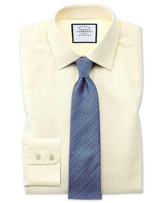 Classic fit fine herringbone yellow shirt