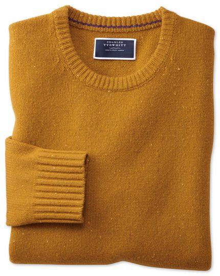 Dark yellow crew neck Donegal merino sweater