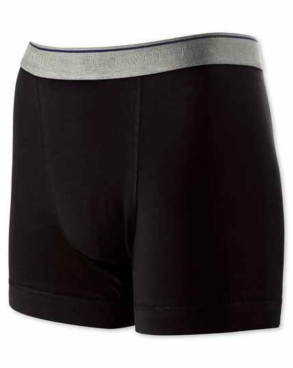 Black cotton stretch jersey trunks