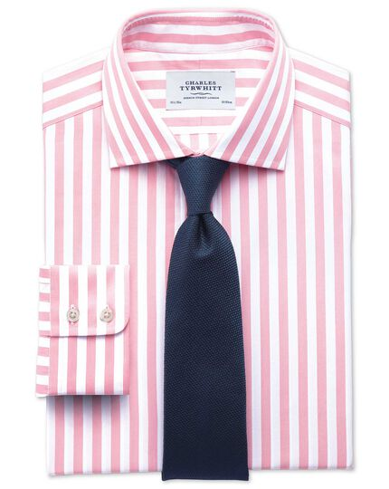 Slim fit semi-cutaway collar Egyptian cotton stripe pink shirt