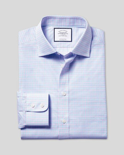 Semi-Spread Collar Egyptian Cotton Poplin Multi Check Shirt - Pink & Sky