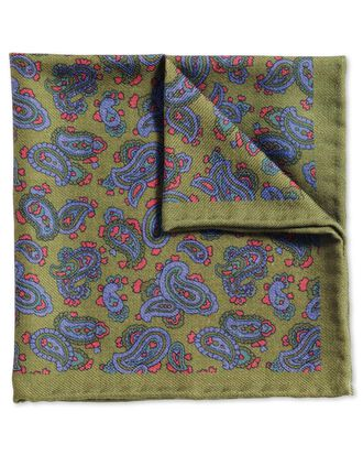 Olive and blue classic printed wool paisley pocket square