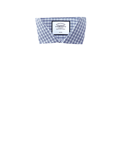 Bügelfreies Extra Slim Fit Twill-Hemd mit Gingham-Karos in Blau