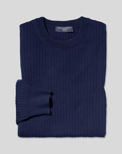 Wool Cotton Rib Jumper - Navy