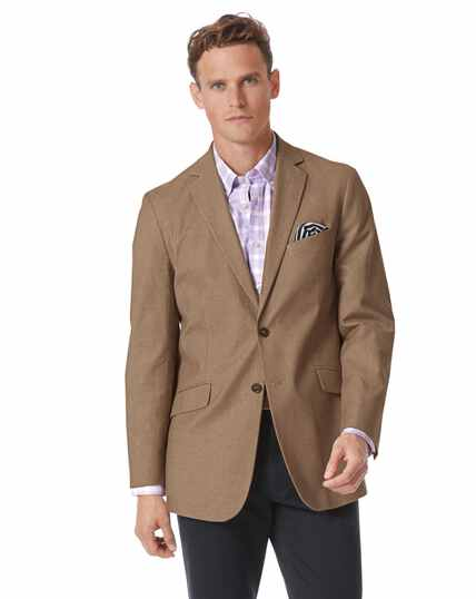 Classic fit tan textured stretch cotton jacket