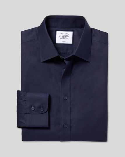 Bügelfreies Twill Hemd mit Kent-Kragen - Marineblau