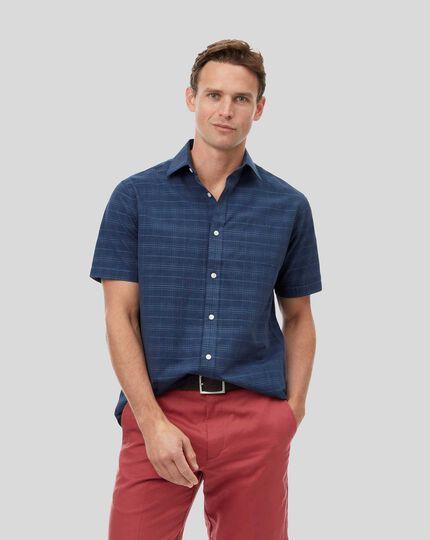 Chemise à carreaux ton sur ton, col classique et manches courtes - Bleu marine