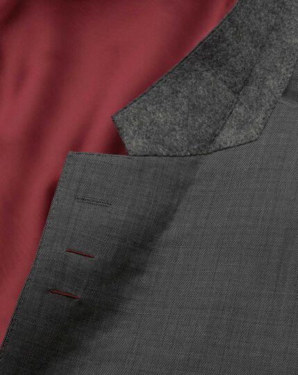 Grey slim fit sharkskin travel suit jacket