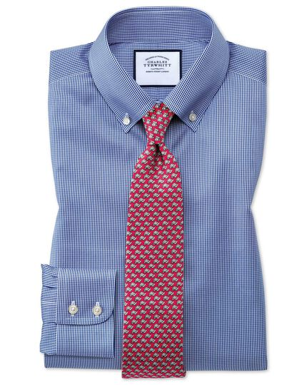 Extra slim fit non-iron royal blue puppytooth shirt