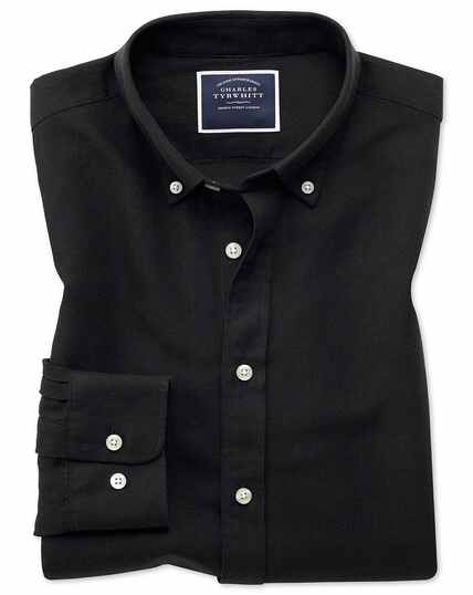 Slim fit black cotton linen twill shirt