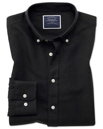 Classic fit black cotton linen twill shirt