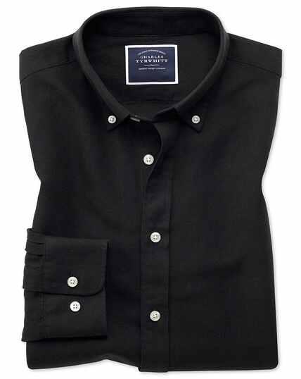 Classic Fit Twillhemd aus Baumwolle/Leinen in Schwarz