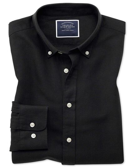 Classic fit black cotton linen twill shirt