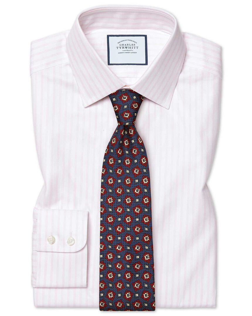 Classic fit brushed-back basketweave pink stripe shirt