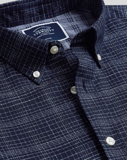 Classic fit soft washed non-iron twill navy grid check shirt