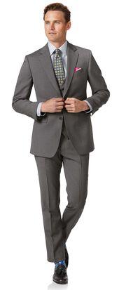 Light grey slim fit herringbone business suit