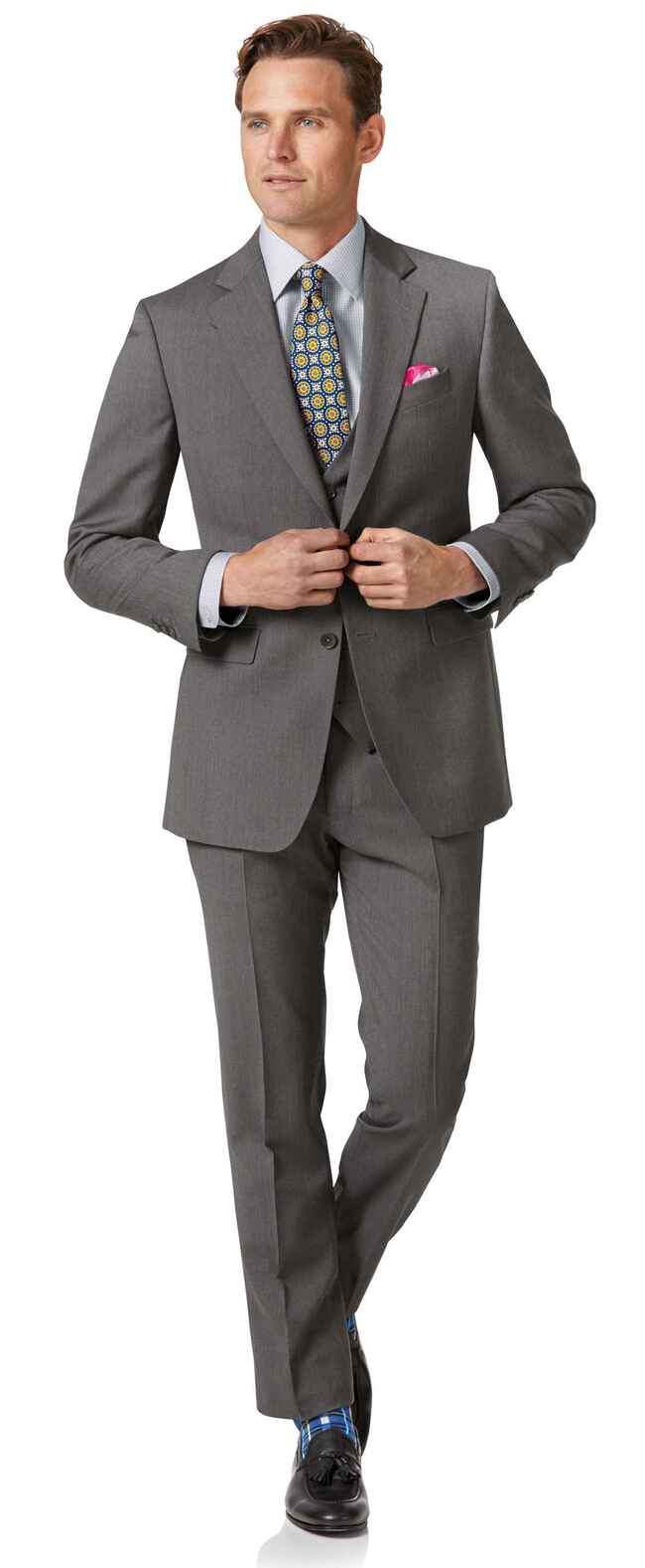 Light grey slim fit herringbone business suit