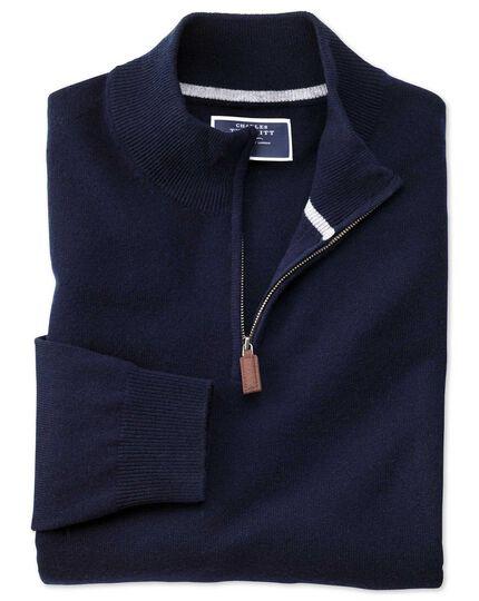 Navy zip neck cashmere sweater