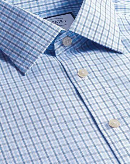 Classic Collar Non-Iron Poplin Check Shirt  - Blue & Sky