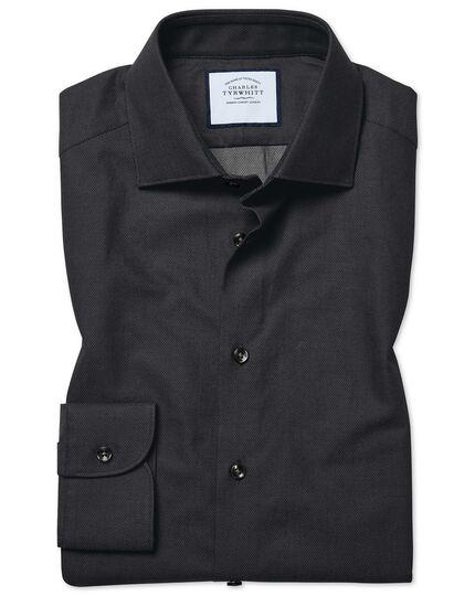 Slim fit micro diamond charcoal shirt