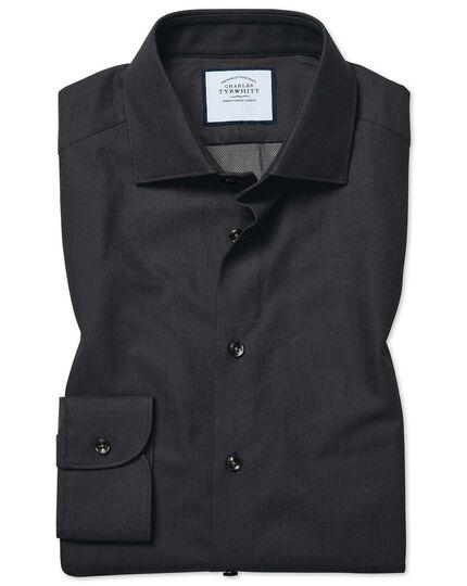 Extra slim fit micro diamond charcoal shirt