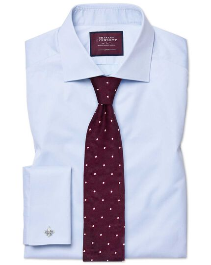 Extra Slim Fit Twill-Luxushemd in Himmelblau