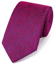 Bright pink silk textured English luxury tie