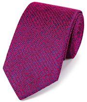 Cravate rose vif en luxueuse soie anglaise texturée