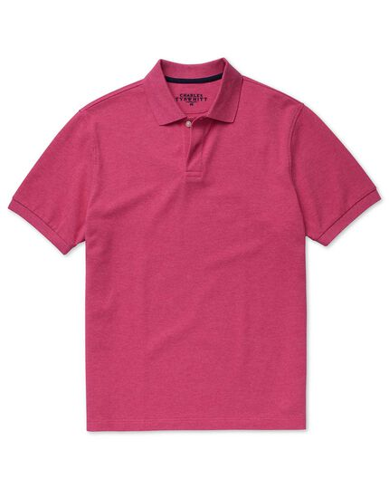 Bright pink melange pique polo