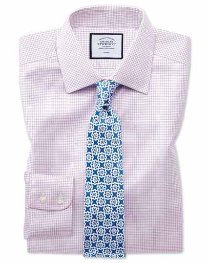 Extra slim fit non-iron twill mini grid check purple shirt
