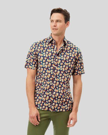 Classic Collar Short Sleeve Cotton Linen Shirt - Blue