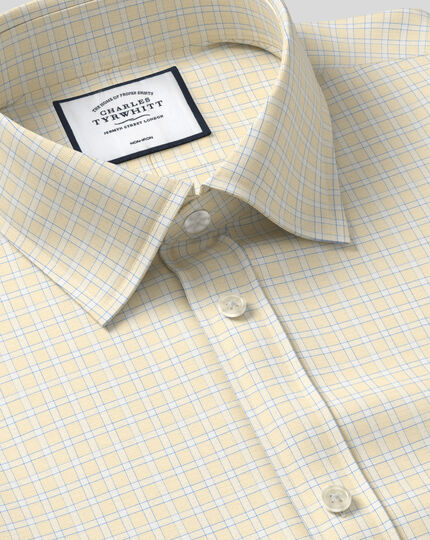 Classic Collar Non-Iron Grid Check Shirt - Yellow