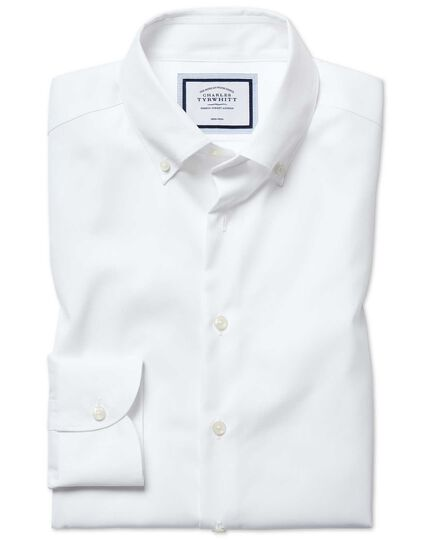 Chemise business casual blanche slim fit sans repassage à col boutonné