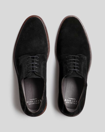 Flexible Sole Suede Derby Shoe - Black