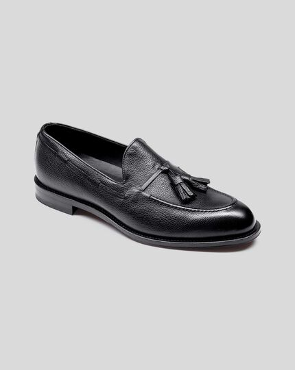 Flexible Sole Tassel Loafers - Black