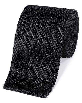 Schmale klassische Strickkrawatte aus Seide in Schwarz